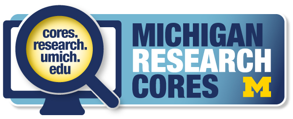 Michigan Research Cores Web Portal button linking to cores.research.umich.edu